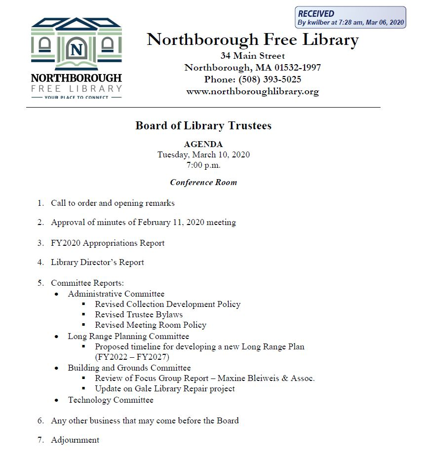 this is the agenda for the 3/10/2020 meeting of northborough's board of library trustees