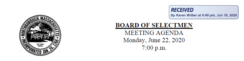 this is the board of selectmen june 22, 2020 header