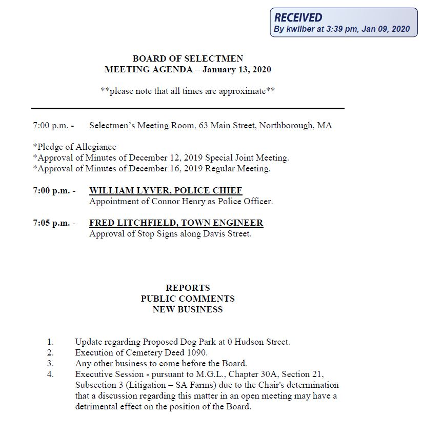 this is the agenda for the january 13, 2020 meeting of the northborough's board of selectmen