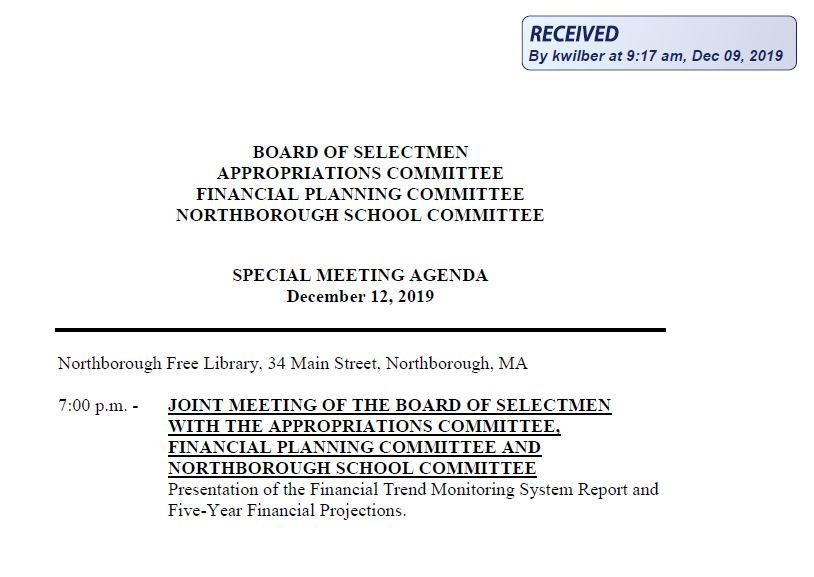 this is the agenda for the december 12, 2019 joint meeting between the northborough board of selectmen, appropriations, financial planning and northborough school committees