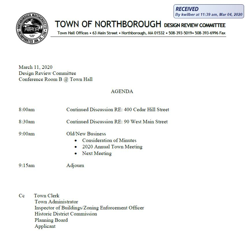 this is the agenda for the 3/11/2020 meeting of northborough's design review committee