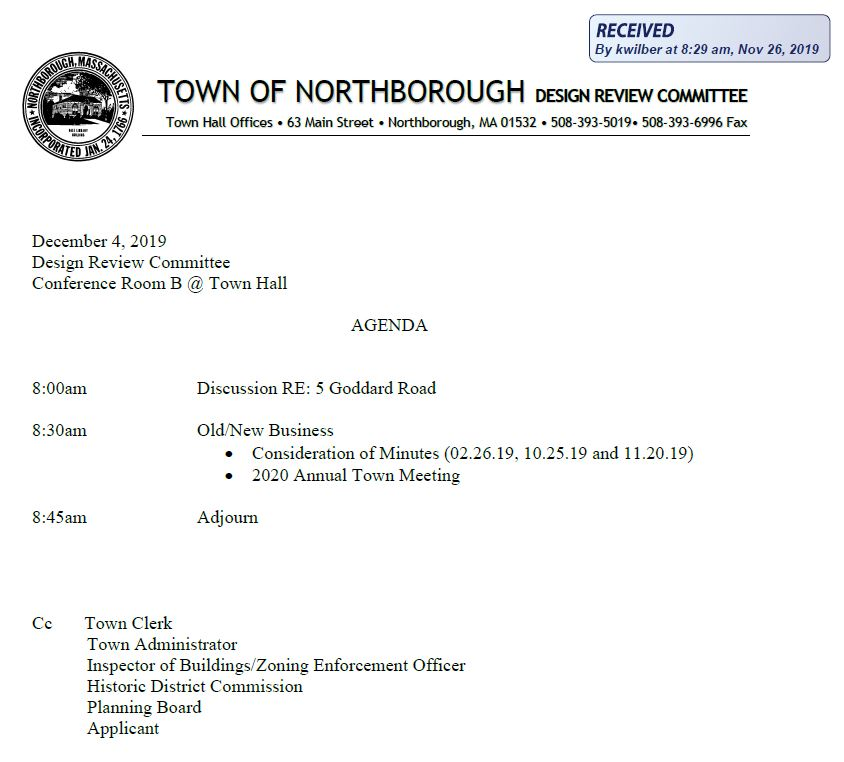 this is the agenda for the december 4, 2019  meeting of the northborough design review committee
