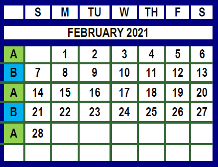 February 2021 Trash and recycling calendar