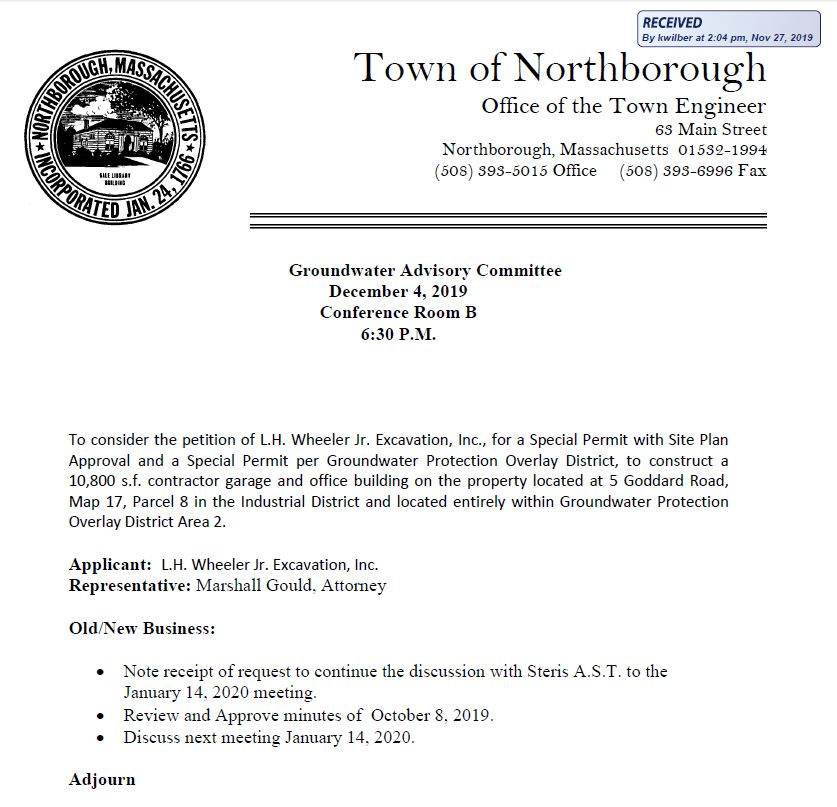 this is the agenda for the wednesday, december 4, 2019 meeting of the northborough groundwater advisory committee