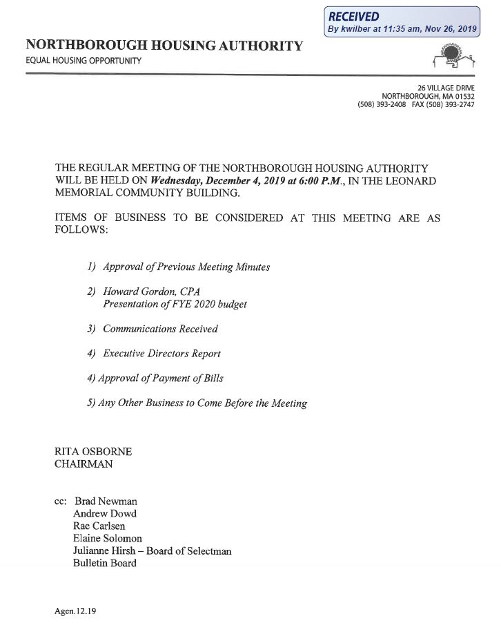 this is the agenda for the wednesday, december 4, 2019 meeting of the northborough housing authority
