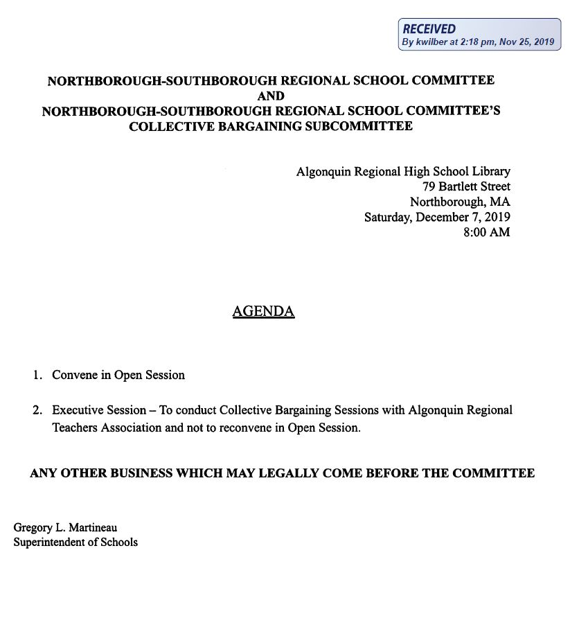 this is the agenda for the joint meeting on saturday december 7, 2019 between the regional school committee and the collective bargaining subcommittee