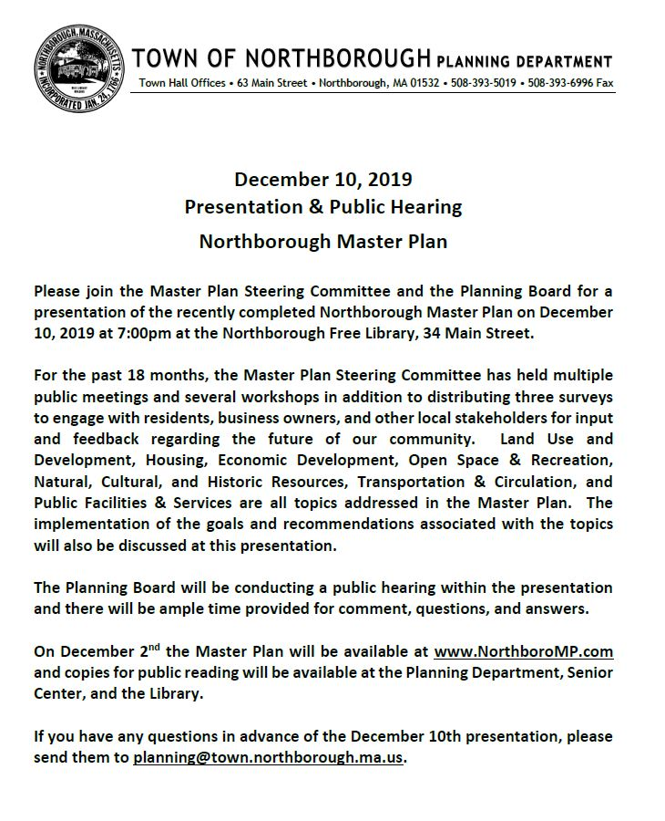 this is the agenda for the master plan steering committee meeting and public hearing for december 20, 2019