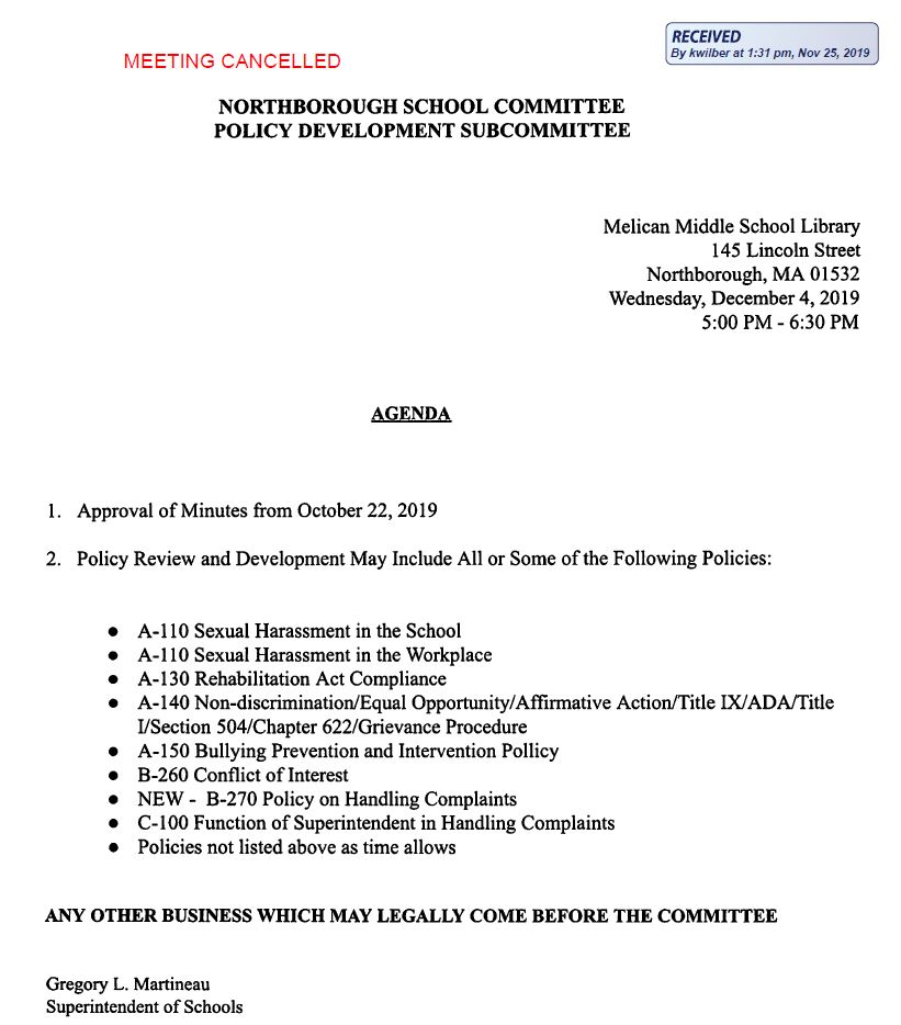 this is showing that the agenda for the Northborough School Committee Policy Development subcommittee meeting on december 4, 2019 has been cancelled