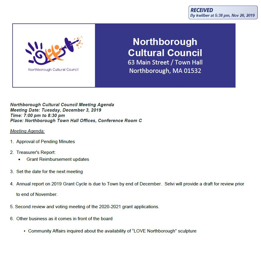 this is the agenda for the december 3, 2019 meeting of the northborough cultural council