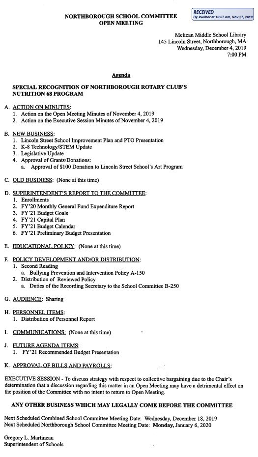 this is the agenda for the wednesday, december 4, 2019 meeting of the northborough school committee