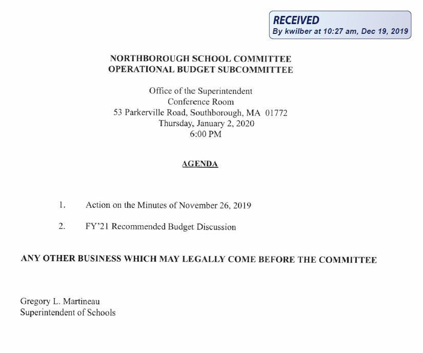this is the agenda for the january 02, 2020 meeting of the northborough school committee operational budget subcomittee