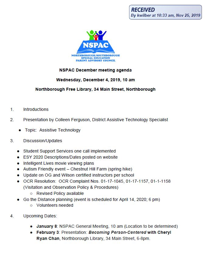 this is the agenda for the wednesday december 4, 2019 meeting of the northborough southborough special eudcation parent advisory council