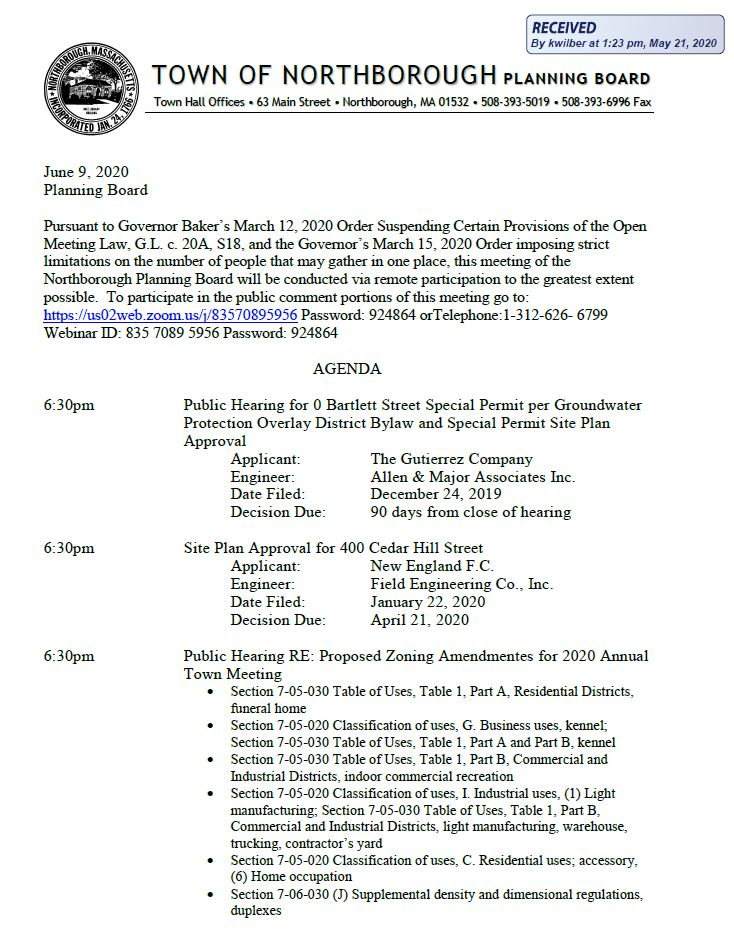 this is page 1 of the june 9,2020 northborough planning board agenda