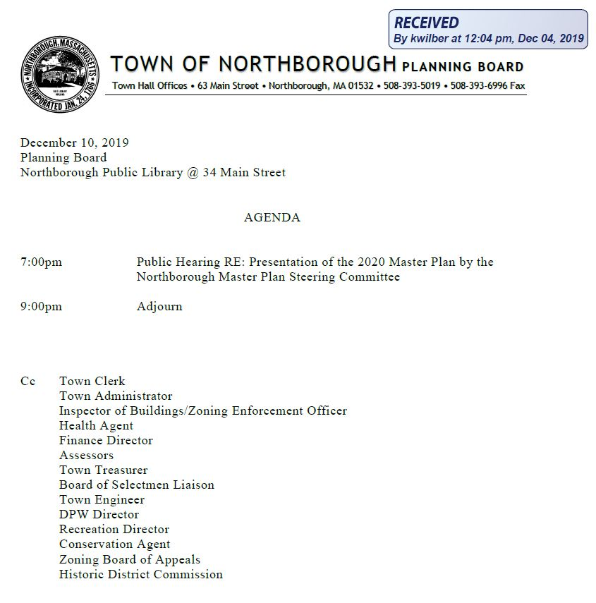 this is the agenda for the december 10, 2019 planning board meeting in northborough, MA