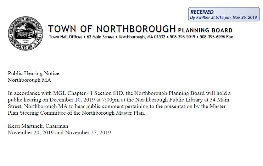 this is a public hearing notice that the northborough planning board will be holding a public hearing on december 10, 2019 at 7 pm at the library to hear the completed master plan