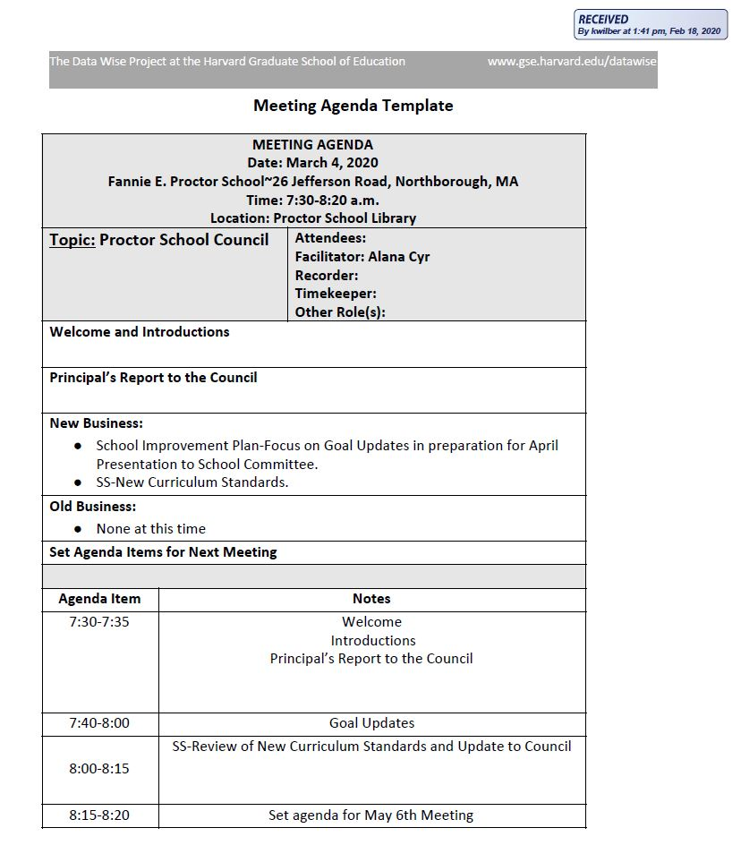 this is the agenda for the march 4, 2020 fannie e. proctor school council meeting
