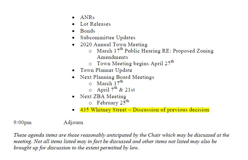 this is page 2 of the revised agenda for the february 18, 2020 meeting of the northborough's planning board