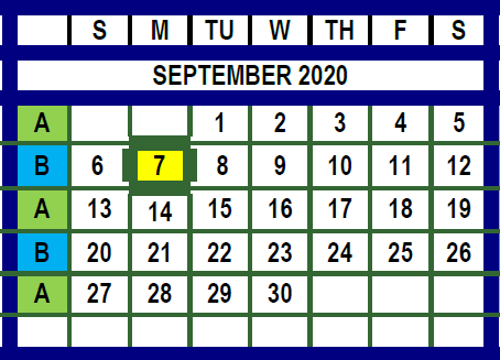 September 2020 Trash and Recycling Month Calendar