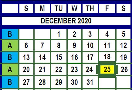 December Trash Calendar